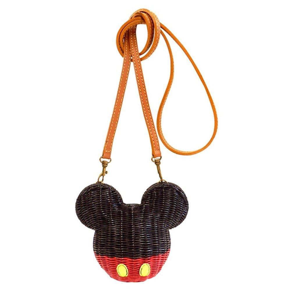�Disney Mickey mouse Rattan Pochette shoulder bag Basket bag Japan NEW F/S�