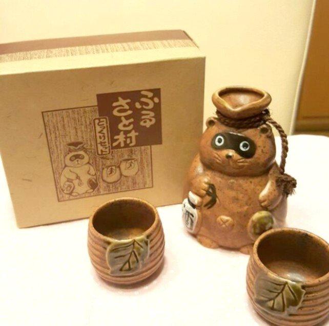 Japanese Raccoon Ceramic Sake Bottle & Cups Set 3 pcs.TANUKI Pottery
