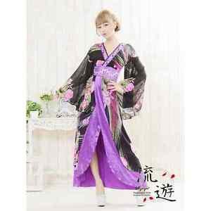 Geisha Princess polyester Kimono long dress Purple Rose M Floral Japan NEW FS