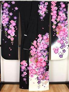 Maiko SAKURA Butterfly Cherry blossom pure Silk Frisode kimono purple pink M FS