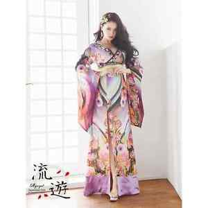Geisha Princess polyester Kimono long dress Purple M Floral Lobe Japan NEW FS