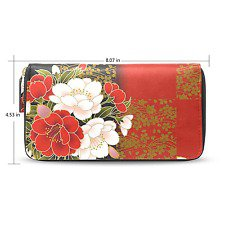 Japanese style Peony purse Long wallet leather Case Kimono pattern red  pink F/S