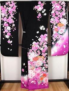 Maiko SAKURA Cherry blossom � peony pure Silk Frisode kimono purple pink M-L FS