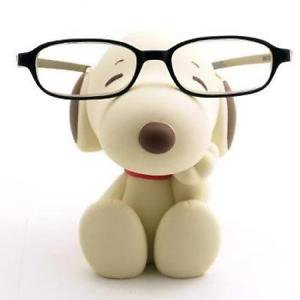 NEW Snoopy Peanuts Snoopy Glasses stand holder Sepia Plush Doll Japan F/S