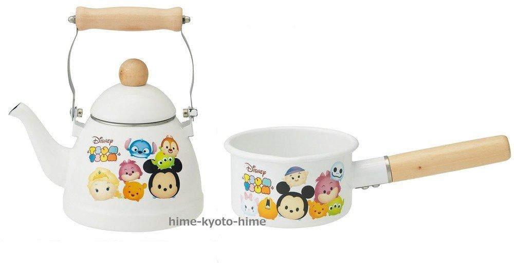 � Gift Disney Tsum Tsum Enamel Kettle & Pan Set saucepan White Japan NEW FS �