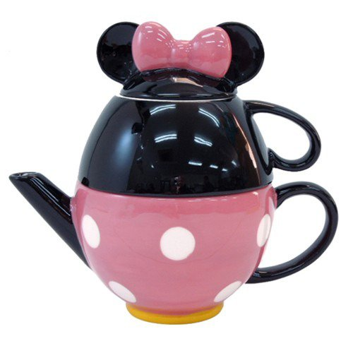 � Disney Minnie Mouse porcelain Tea Set Tea pot and mug cup pink Japan F/S NEW �