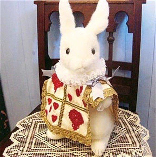 �Disney Alice in Wonderland Trump Rabbit Plush Doll Handmade FS NEW from Japan �