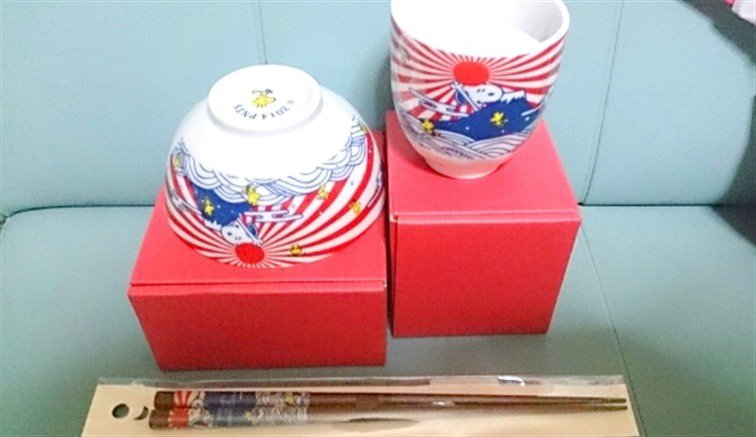 Made in JAPAN Snoopy Japanese Series FUJI Tea Cup & Rice bowl & Chopstick set FS