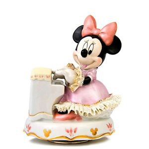 Japan limited! Disney Official Pottery Lace Doll Music Box Minnie piano figurine