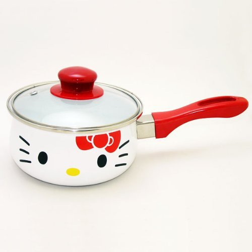 "�SANRIO Hello Kitty IH Ribbon Enamel One handed pan Pot 6.2""from JAPAN NEW F/S�"