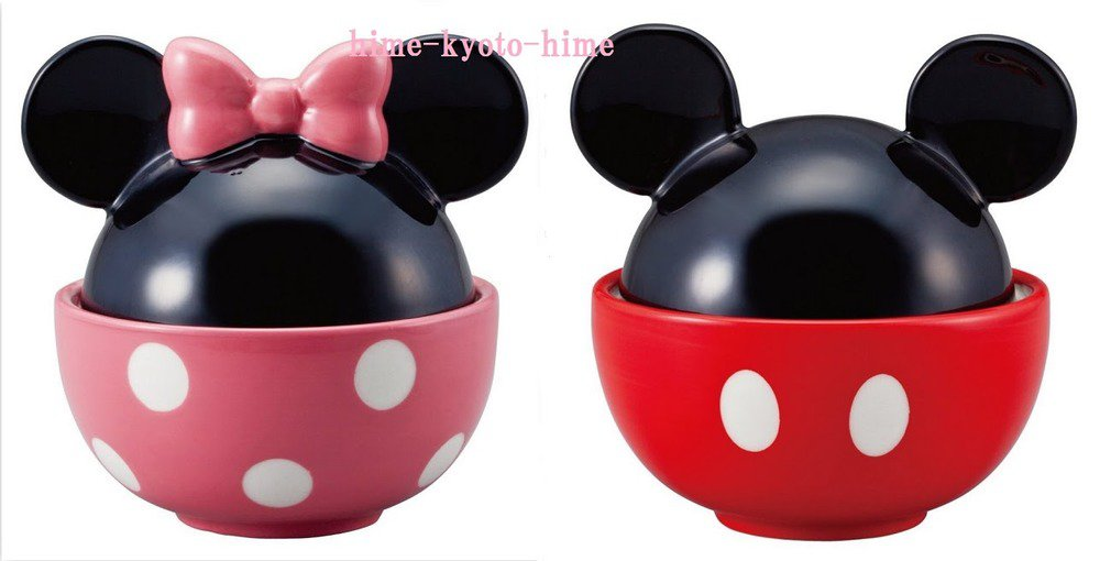 � Gift Disney Minnie Mouse & Mickey Mouse Rice Bowl Set Japan F/S NEW �