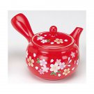 SAKURA Cherry blossoms Tea pot Kyusu Tokoname Red 280CC Pottery Japan NEW F/S