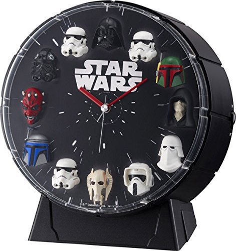 RHYTHM WATCH Star Wars 12 Figures Alarm Clock 4ZEA26MC02 From Japan Black NEW FS