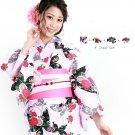 Summer Butterfly Pink peony Yukata +Obi band + Geta clogs + Corsage Set Kimono M