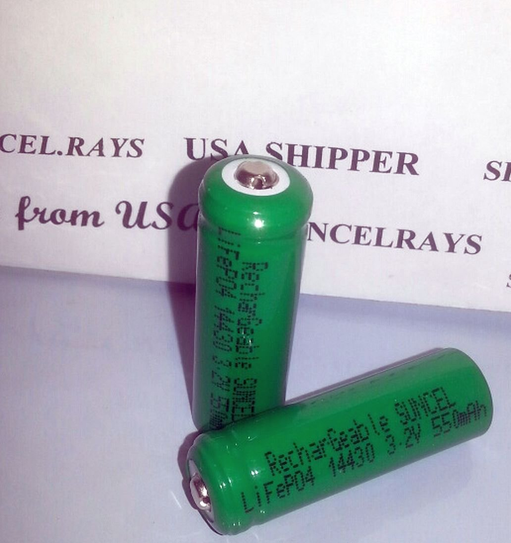 2 pcs SUNCEL 14430 LifePO4 Rechargeable 550mAh Batteries for solar lawn led lights