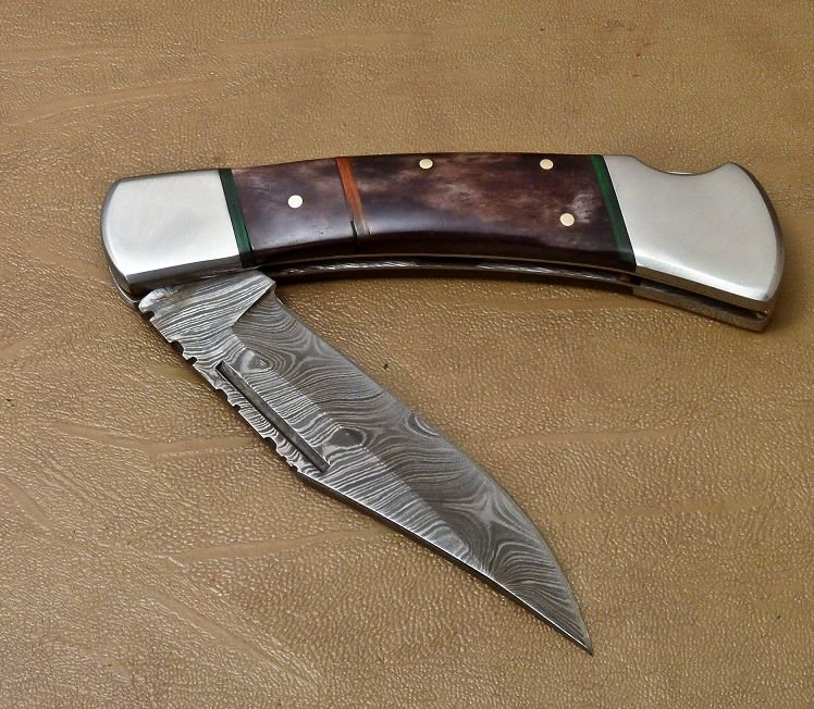 "HAND MADE DAMASCUS STEEL POCKET FOLDING KNIFE LOCK BACK 9"" length AZ085"