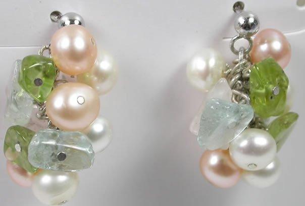 Pearl Green Peridot Blue Topaz Earrings in Sterling Silver