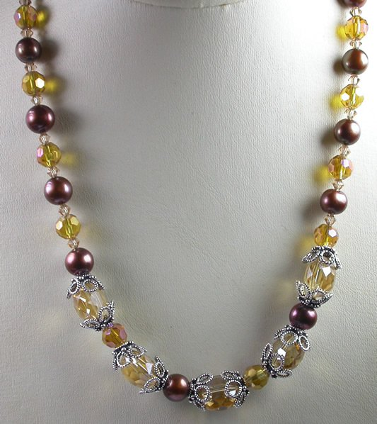 Brown Pearl and Gold Crystal Necklace and Earrings Set