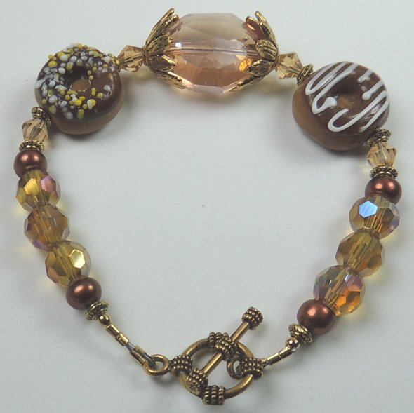 Donut Brown Lampwork Bracelet with Gold Crystal and Brown Pearls