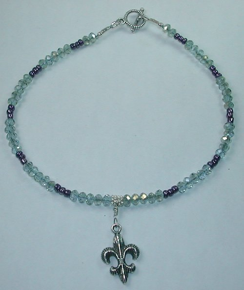 Fleur de Lis Lilac Crystal and Bead Anklet