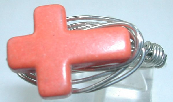 handcrafted Wire Wrapped Orange Lampwork Cross Ring