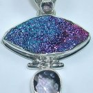 Midnight Blue Druzy and Purple Amethyst Pendant in Sterling Silver