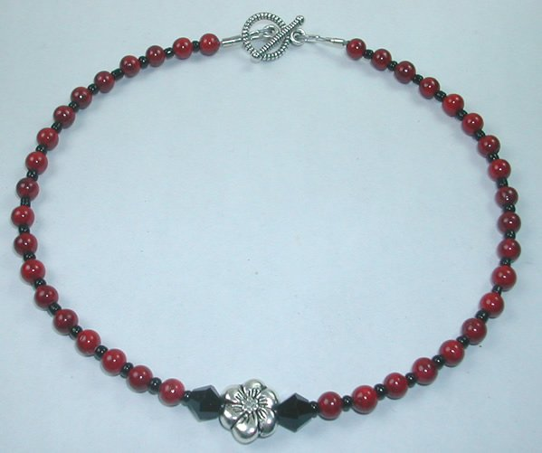 handcrafted Silver Flower Bead and Red Crystal Anklet