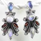 Red Garnet & White Moonstone Earrings in Sterling Silver
