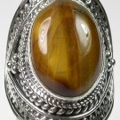 large Tigers Eye Ring in Sterling Silver size 7