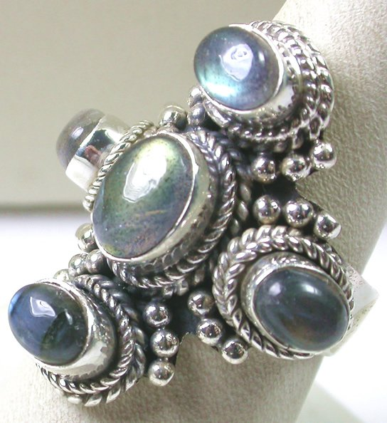 large Light Green LABRADORITE RING IN STERLING SILVER