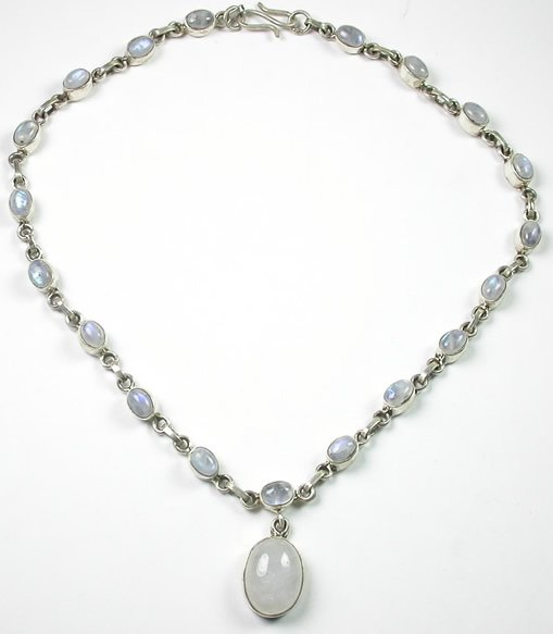 White Moonstone Necklace in Sterling Silver