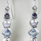 Blue Purple Multigem Earrings in Sterling Silver