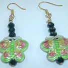 Green Cloisonne Butterfly Earrings with Black Crystal