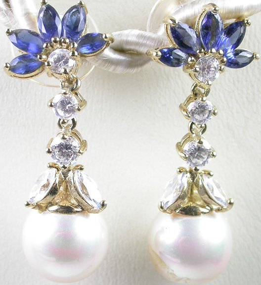 ornate White Pearl & Blue CZ Earrings