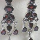 Chandelier Red Garnet Earrings in Sterling Silver