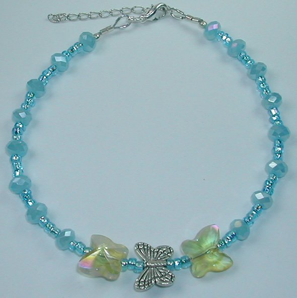 handcrafted Turquoise Crystal and Turquoise  Bead Butterfly Anklet