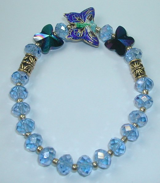 Blue Cloisonne and Blue Crystal Stretch Bracelet