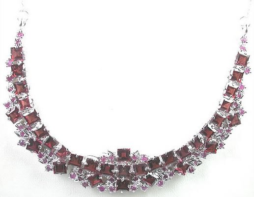 Red Garnet and Red Ruby Necklace in Sterling Silver