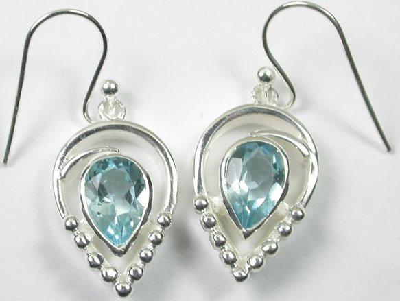 Teardrop Blue Topaz Earrings in Sterling Silver