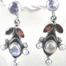 Moonstone and Red Garnet Earrings in Sterling Silver