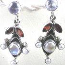 Moonstone and Red Garnet Earrings in Sterling Silver