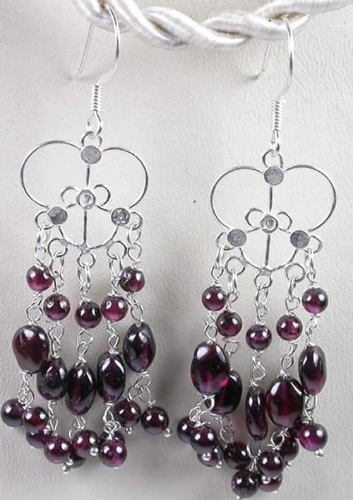 handcrafted Chandelier Red Garnet Earrings in Sterling Silver