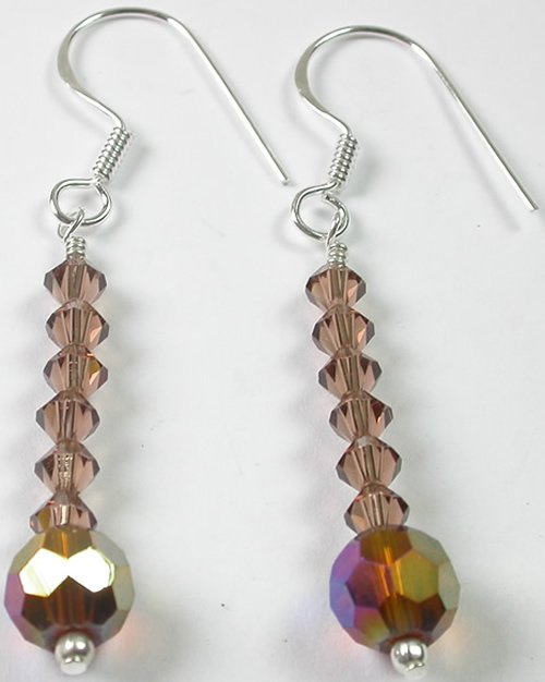 handcrafted Brown Crystal Earrings in Sterling Silver