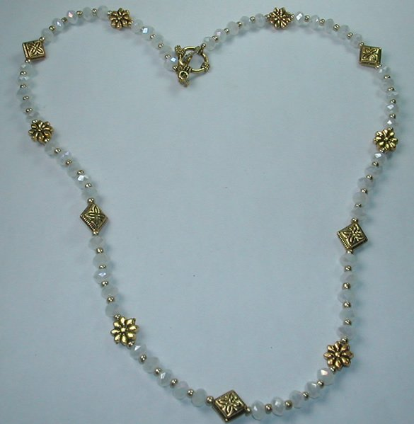 handcrafted White Crystal Necklace with Gold Tone Flowers