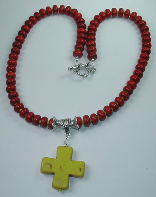 handcrafted Red Howlite Necklace with Yellow Howlite Cross