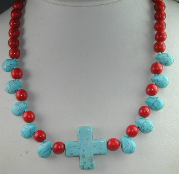 handcrafted Turquose and Red Howlite and Turquoise Cross Necklace