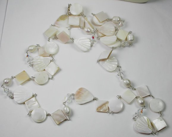 Long White  Pearl Clear Crystal and Mother of Pearl Necklace in Sterling Silver