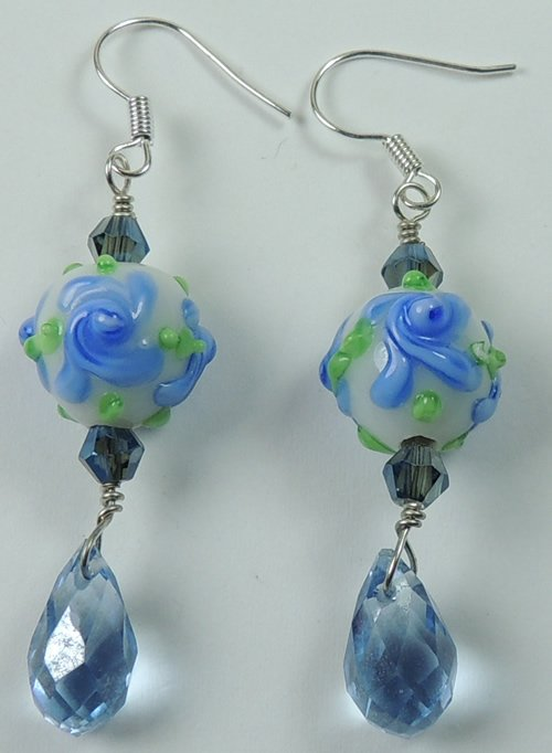 handcrafted Blue & White Flower Earrings withBlue Briolettes