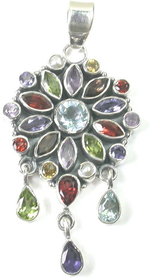 Green purple Multigem Pendant in Sterling Silver
