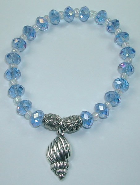 handcrafted Blue Crystal Stretch Bracelet with Silver Plated